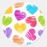 Girly pastel love hearts pattern round sticker