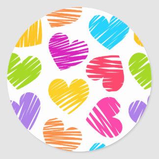 Girly pastel love hearts pattern stickers