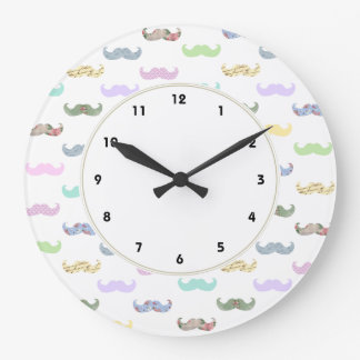 Girly pastel mustache pattern large clock