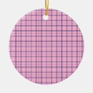 Girly Pastel Pink and Purple Plaid Pattern Christmas Ornaments