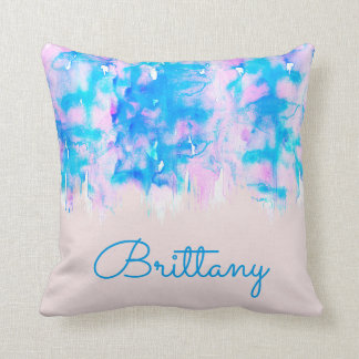 Girly Pastel Pink Blue Watercolor Paint Monogram Throw Pillow