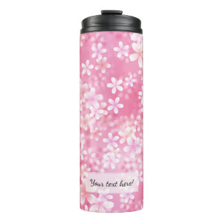 Girly Pastel Pink Cherry Blossom Flowers Thermal Tumbler