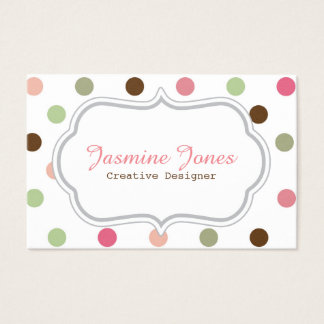 Girly, Pastel, Pink, Green, Brown, Polka Dots Business Card