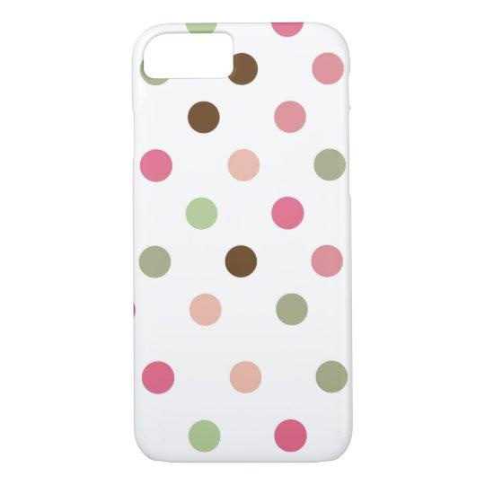 Girly, Pastel, Pink, Green, Brown, Polka Dots iPhone
