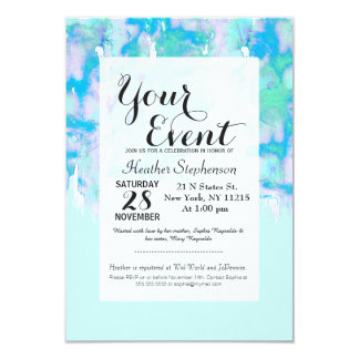 Girly Pastel Teal and Blue Watercolor Paint Drips 9 Cm X 13 Cm Invitation Card