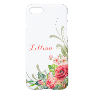Girly Pastel Watercolor Flowers and Swirls iPhone 8/7 Case