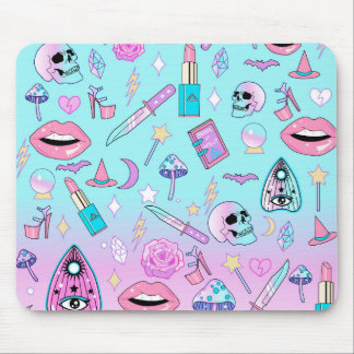 Girly Pastel Witch Goth Pattern Mouse Mat