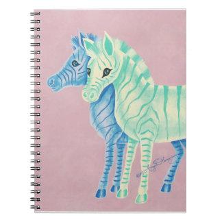 Girly Pastel Zebras With Blue Stripes Notebook