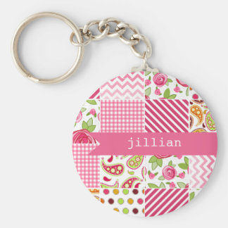 Girly Patchwork Personalized Keychain