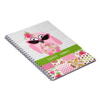 Girly Patchwork Pink Owl Personalized Notebook