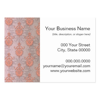 Girly Peach Damask Business Cards