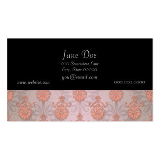 Girly Peach Damask Business Card Template
