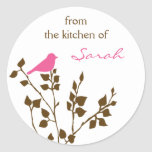 Girly Personalised Pink Brown Baking Stickers