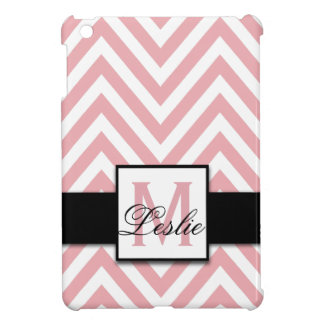 GIRLY, PERSONALIZED CORAL PINK CHEVRON PATTERN COVER FOR THE iPad MINI