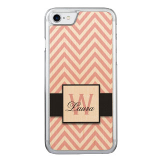 Girly Personalized Coral Pink Chevron Pattern Name Carved iPhone 8/7 Case