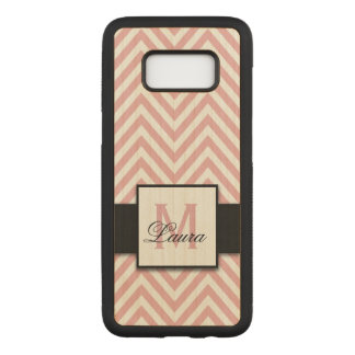 Girly Personalized Coral Pink Chevron Pattern Name Carved Samsung Galaxy S8 Case