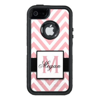 GIRLY, PERSONALIZED CORAL PINK CHEVRON PATTERN OtterBox DEFENDER iPhone CASE