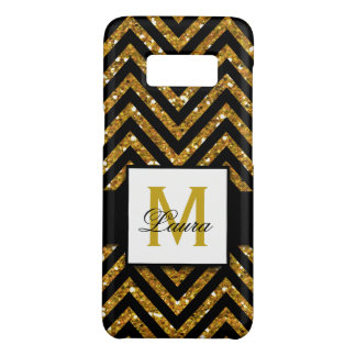 GIRLY PERSONALIZED GOLD GLITTER CHEVRON PATTERN Case-Mate SAMSUNG GALAXY S8 CASE