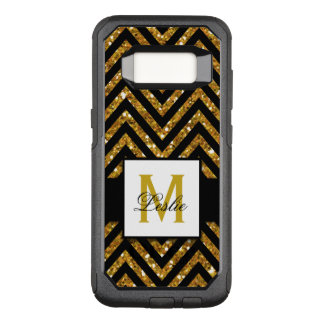 GIRLY, PERSONALIZED GOLD GLITTER CHEVRON PATTERN OtterBox COMMUTER SAMSUNG GALAXY S8 CASE