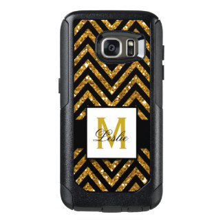 GIRLY, PERSONALIZED GOLD GLITTER CHEVRON PATTERN OtterBox SAMSUNG GALAXY S7 CASE