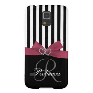 Girly, Personalized Initial, Pink, Black Stripes Galaxy S5 Covers