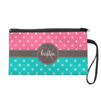 Girly Personalized Pink & Teal Dots Wristlet Purse