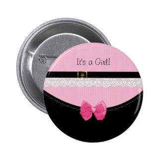 Girly Pink And Black Baby Shoes Birth Announcement Pinback Button