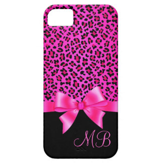 Girly Pink and Black Leopard Print Elegant Classy iPhone 5 Cases