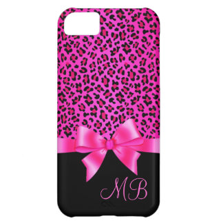 Girly Pink and Black Leopard Print Elegant Classy iPhone 5C Case
