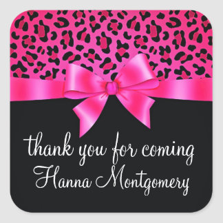 Girly Pink and Black Leopard Print Elegant Classy Square Stickers