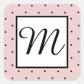 Girly Pink and Black Polka Dot Monogram Stickers
