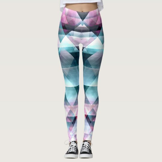 Girly Pink and Blue Abstract Geometric Pattern Leggings