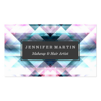 Girly Pink and Blue Abstract Geometric Pattern Pack Of Standard Business Cards