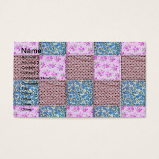 Girly Pink and Blue Floral Quilt Print Business Card