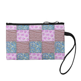 Girly Pink and Blue Floral Quilt Print Coin Purse