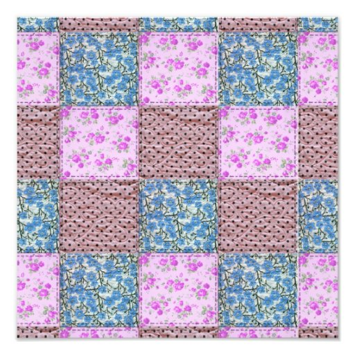 Girly Pink and Blue Floral Quilt Print Photo Art
