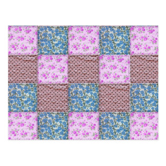 Girly Pink and Blue Floral Quilt Print Postcard