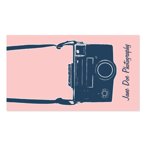 Girly Pink and Blue Vintage Camera Business Card
