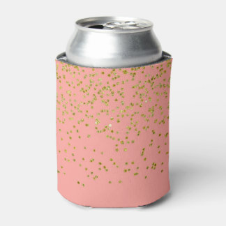 Girly Pink and Faux Gold Glitter Confetti Can Cooler