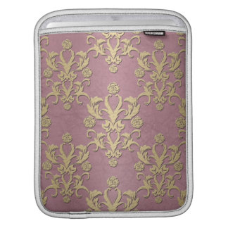 Girly Pink and Gold Yellow Damask Sleeve For iPads