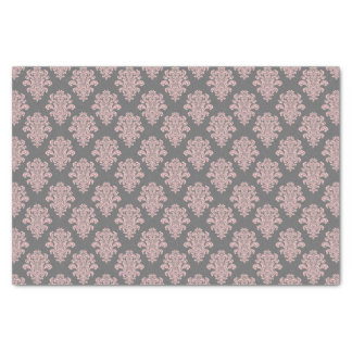 Girly Pink and Gray Damask Tissue Paper
