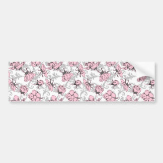 Girly Pink and Gray Vintage Floral Pattern Bumper Stickers