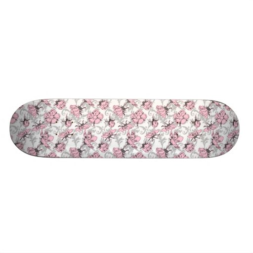 Girly Pink and Gray Vintage Floral Pattern Skateboard Decks