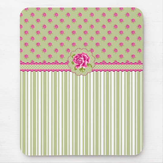 Girly Pink and Green Floral Mousepad