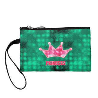 Girly Pink and Green Glitter Princess and Tiara Coin Purse