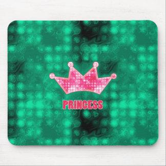Girly Pink and Green Glitter Princess and Tiara Mouse Pad