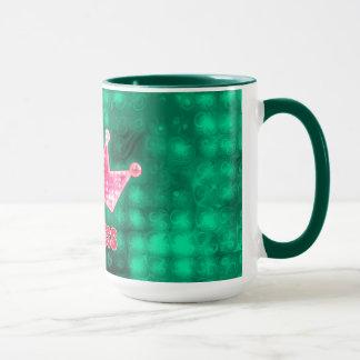 Girly Pink and Green Glitter Princess and Tiara Mug