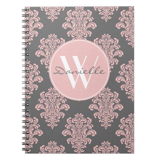 Girly Pink and Grey Damask Monogram Spiral Notebook
