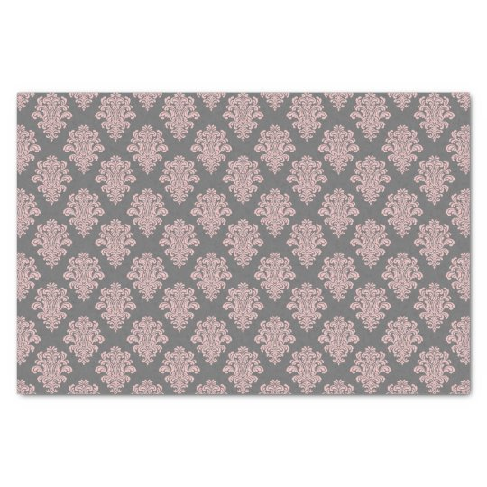 Girly Pink and Grey Damask Tissue Paper