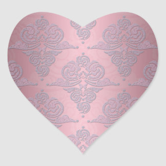 Girly Pink and Lavender Fancy Damask Heart Sticker